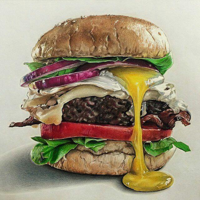 Risultati immagini per colored pencils hamburger