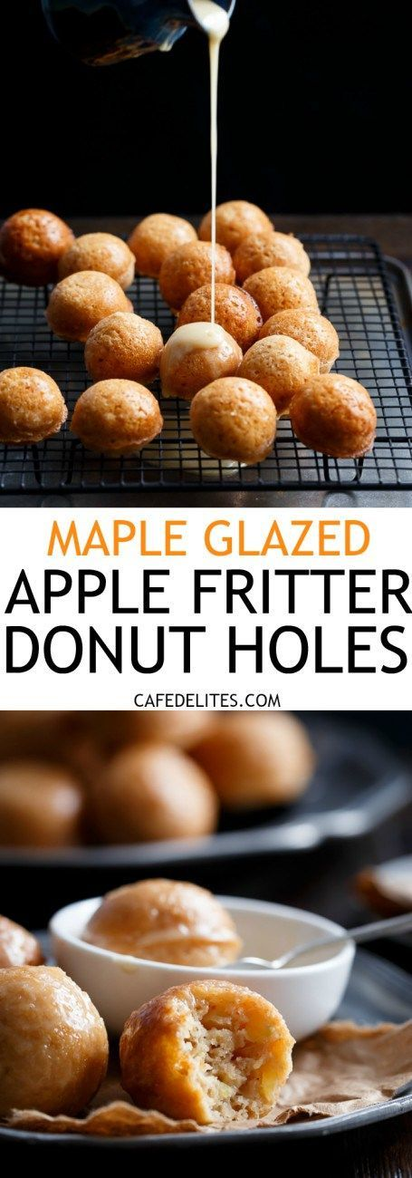 Maple Glazed Apple Fritter Donut Holes