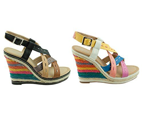Schwarz Damen Sandalen Keilabsatz Wedge Sandaletten mit Nieten Sommer Schuhe