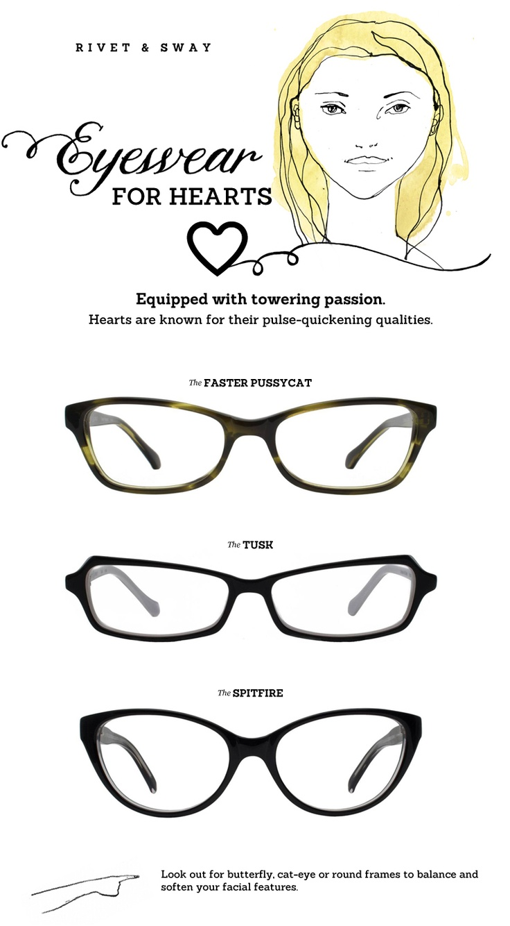 Best Glasses Frame For Face Shape : #eyeglasses for heart face shapes from Rivet & Sway ...