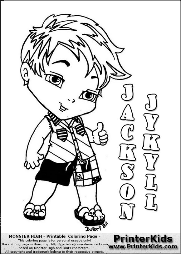 monster high jackson jekyll baby chibi cute coloring page