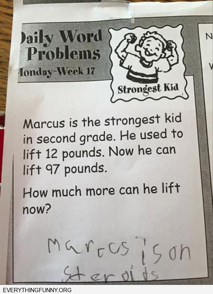 funny test answers marcus is on steriods marcus strongest kid example test answer