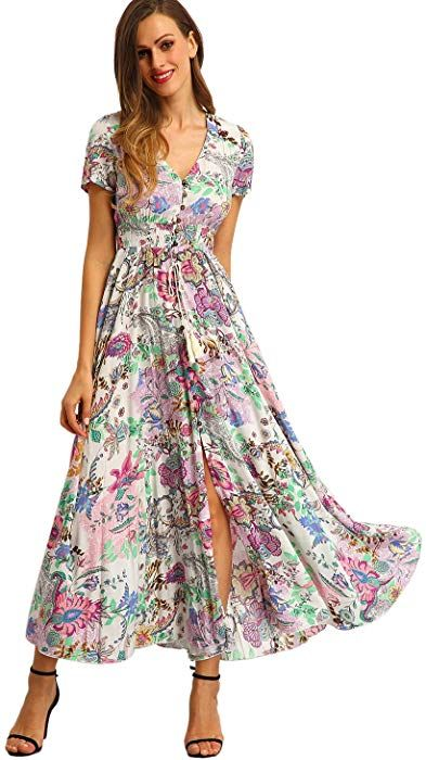 d564b834418 Milumia Women s Button up Split Floral Print Flowy Party Maxi Dress Large  Pink at Amazon Women s Clothing store