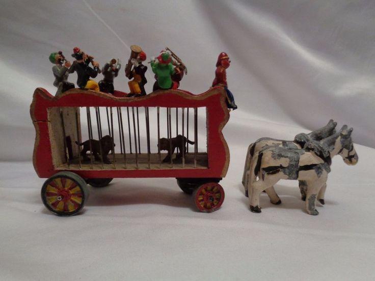 Antique Circus Lion Wagon Clown Band Lead Toys Dollhouse Miniatures