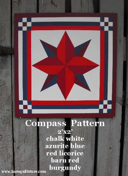 Painted Wood Barn Quilt, Compass Pattern