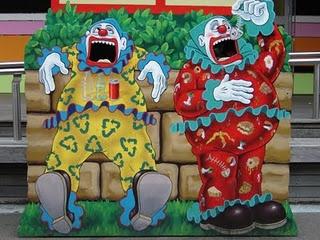 Clown rubbish bins at Lunar Park in Sydney
