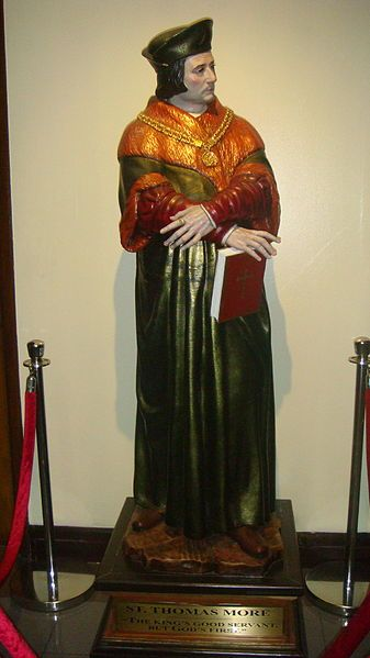 Statue of Thomas More at the Ateneo Law School Chapel -Pope Leo XIII beatified Thomas More, John Fisher and 52 other English Martyrs on 29 December 1886. Pope Pius XI canonized More and Fisher on 19 May 1935,and More's feast day was established as 9 July.In 1970, following post-Vatican II reforms. The Catholic calendar of saints celebrates More and Fisher jointly with St John Fisher on 22 June (the date of Fisher's execution).