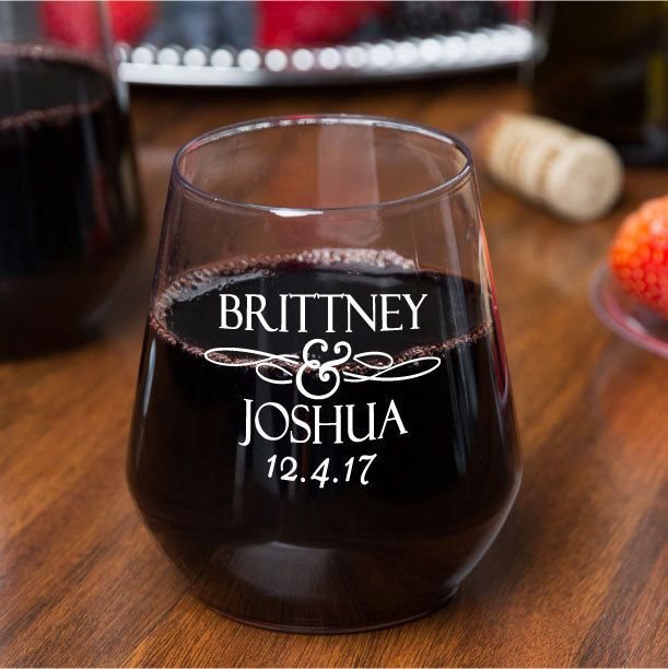 64 Personalized 12oz Plastic Stemless Wine Glasses Custom Wedding Favors or Great for Bars Patio Events by Factory21 on Etsy