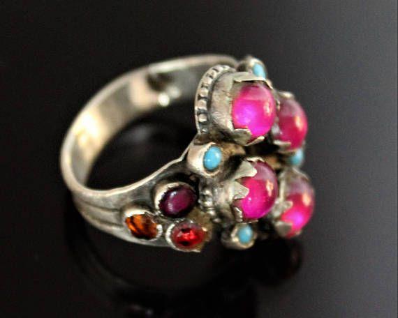 Afghanischer Silber Ring mit pinken Glassteinen Vintage Ethno