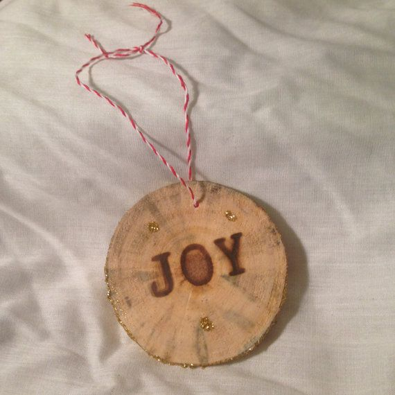 Wood Christmas Ornament JOY by OfNobleCharacter on Etsy