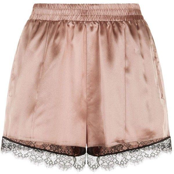 Fleur Du Mal Lace Trim Shorts ($170) ❤ liked on Polyvore featuring fleur du mal