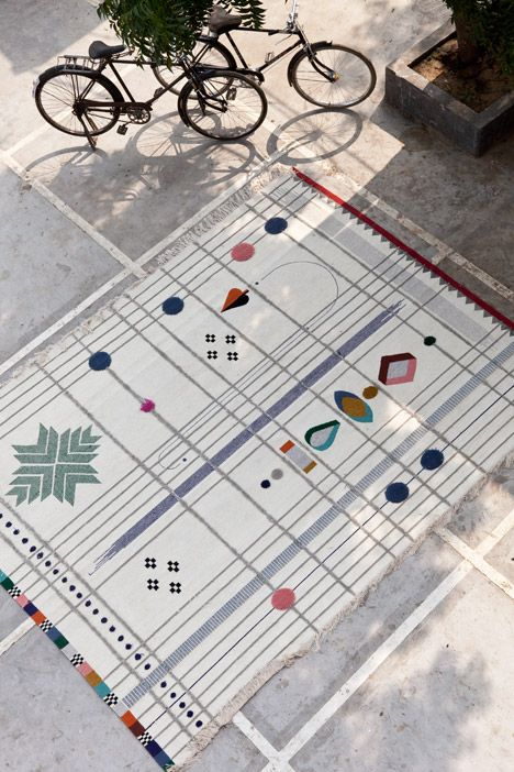 Doshi Levien's Rabari rugs for Nani Marquina, coming soon to Nest.co.uk http://www.nest.co.uk/browse/brand/nani-marquina Image via Dezeen.
