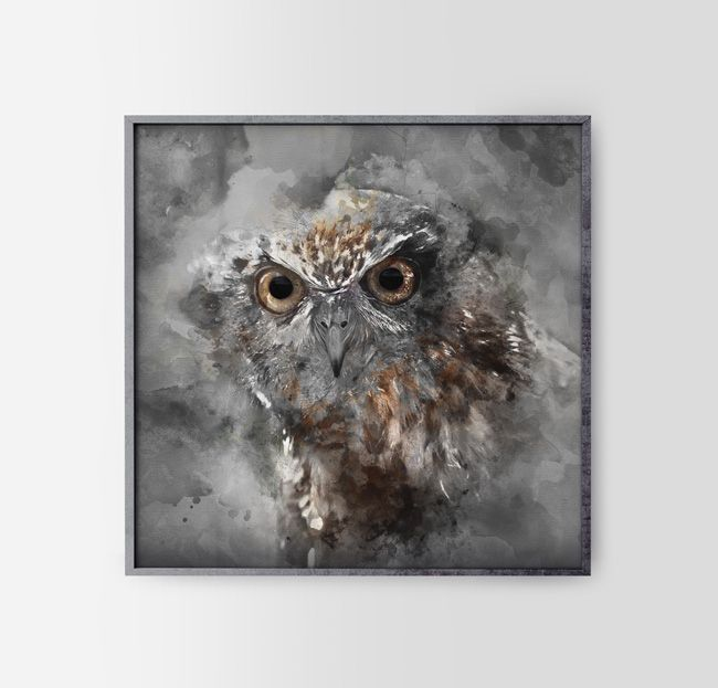 15$/€ Our grey Owl You can buy it - contact us! (by hogstudio.design@gmail.com)  #owl #design #brown #grey #home #interiors #poster #animals #nature