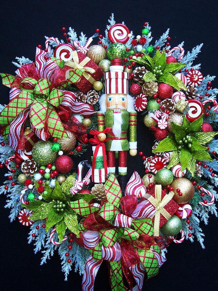 Nutcracker wreath | Lg. NUTCRACKER CHRISTMAS HOLIDAY Wreath by UpTownOriginals on Etsy