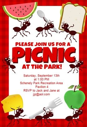 """Picnic Party"" printable invitation template. Customize, add text and photos. Print or download for free!"
