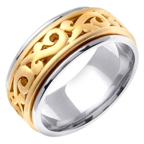 18K Two Tone Gold Celtic Wedding Ring Band, For the Bride and Groom