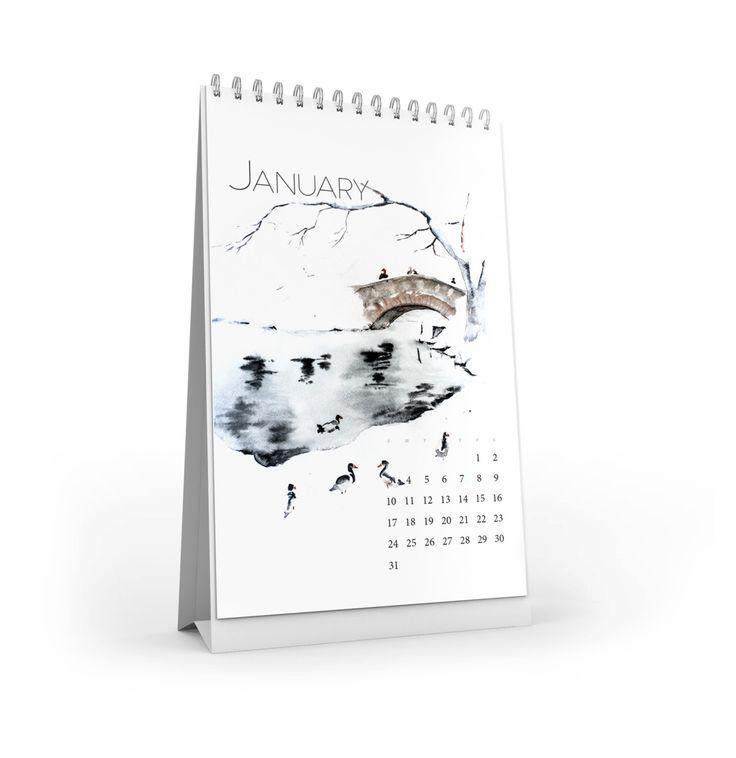 Landscapes I Desk Vertical Calendar 2016 by AllWaterAndColors on Etsy