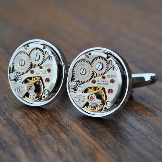 Roamer Watch Movement Cufflinks  Steampunk Silver by JFoxCufflinks  #cufflinks #suit #tie #shirt #horology #menswear #mensfashion #watchmovementcufflinks #mensaccessories #men #gentleman #dapper #sartorial #debonair #vintagecufflinks #steampunkcufflinks #steampunk #retail #groom #luxury #weddingday #groomgift #timepiece #groomsmengift #dadgift #handmade #fashion #birthdaygift #wristwatch #style #watch #bestmangift #etsy #etsyshop #Roamer