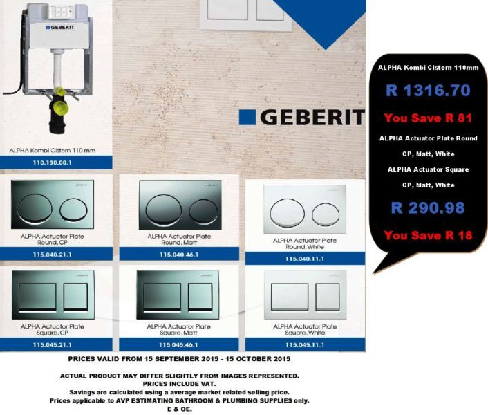 This Months Specials, Baths, Taps, Toilets, Showers, Vanity Units and Basins