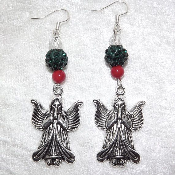 Earrings  Angel Prayers  Glass Coral and Clay  by KasumiCrafts