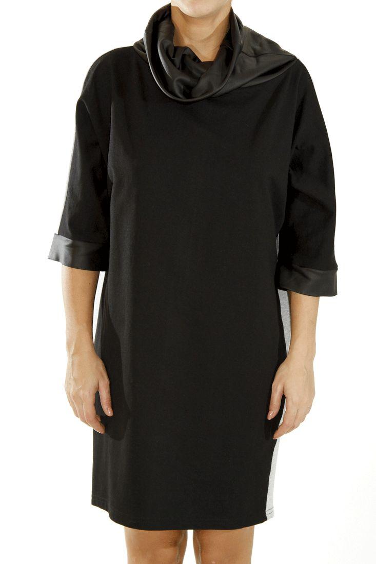 Cotton loose dress Faux leather turtle neck Leather sleeves details Color block grey back design by DIG ATHENS #dress #digathens #greek4chic