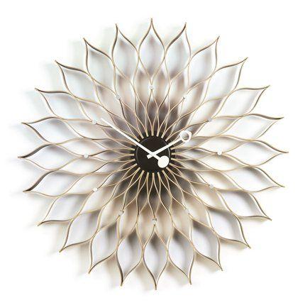 Horloge Sunflower en forme de soleil ou fleur en bouleau naturel ou noir