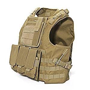 TOOGOO (R) Vest Gilet Giacca Multi Tasche Marrone Tattico Softair