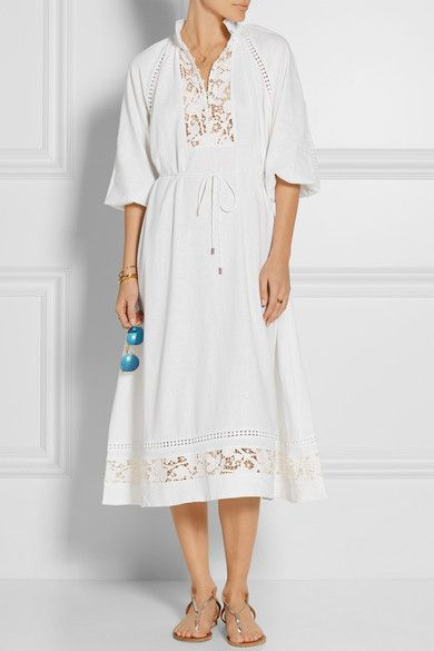 White linen-blend Button fastenings along front 55% linen, 45% viscose; trim: 100% cotton Hand wash