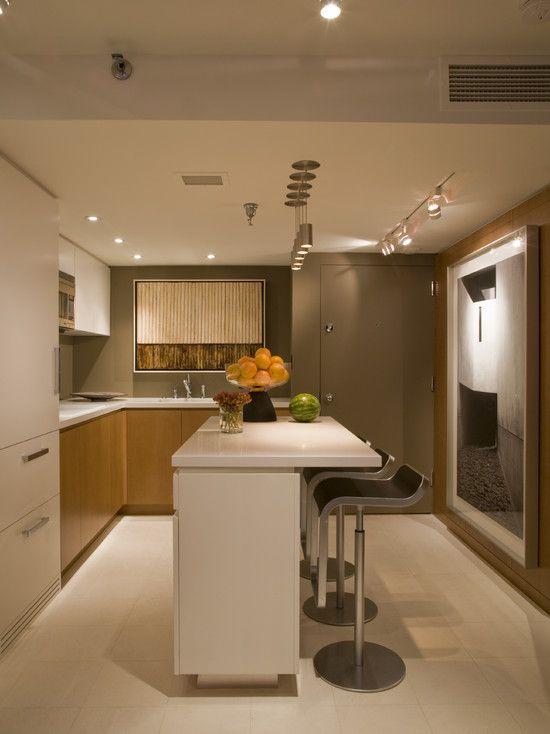Contemporary Apartment Design with Effective Arrangement: Sleek Modern Kitchen Design Small Island Efficient Living Space