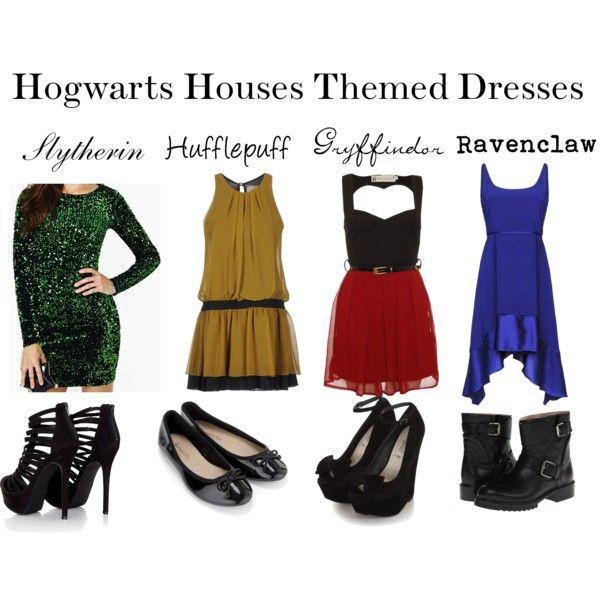 """Hogwarts Houses Themed Dresses"" by sarashea on Polyvore"
