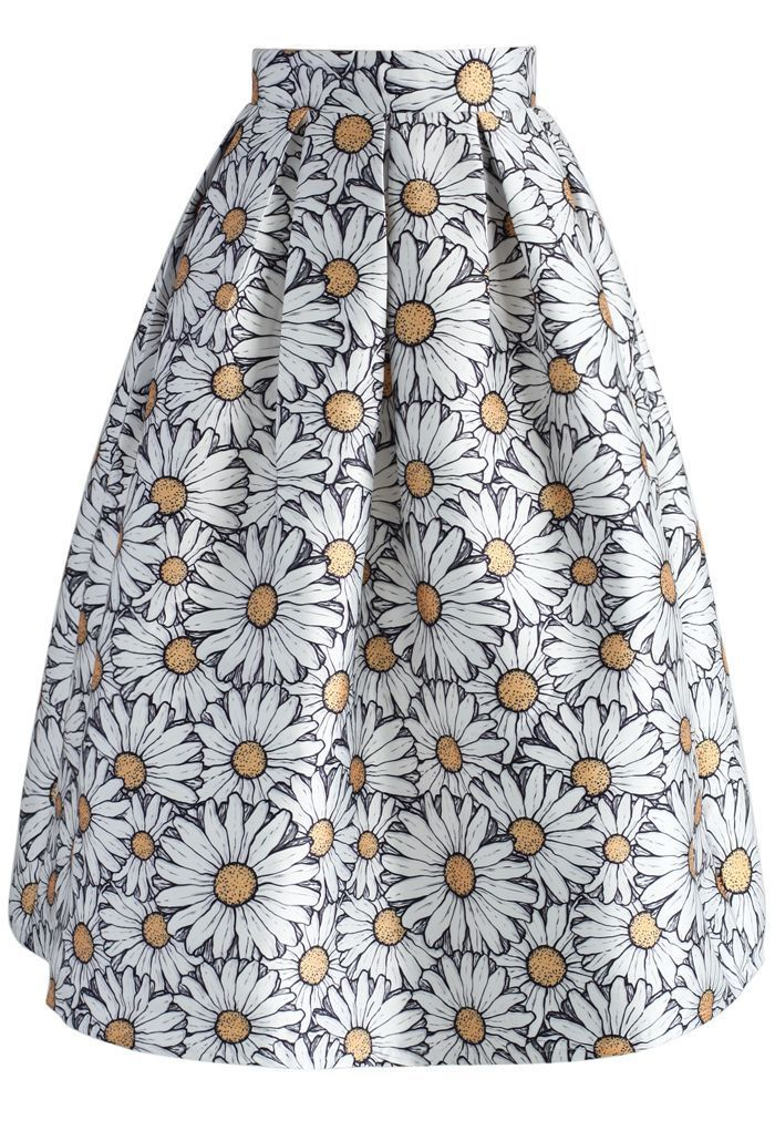 Daisy Blooming Printed Midi Skirt - New Arrivals - Retro, Indie and Unique…