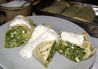 W Mojej Kuchni Lubię.. : tortilla ze szpinakiem,twarogiem,serem i sosem tza...