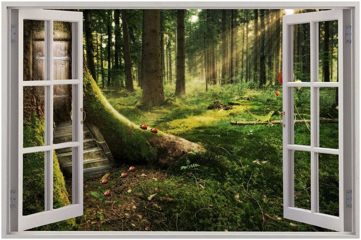 Huge 3d window view enchanted forest wall sticker mural for Enchanted forest mural