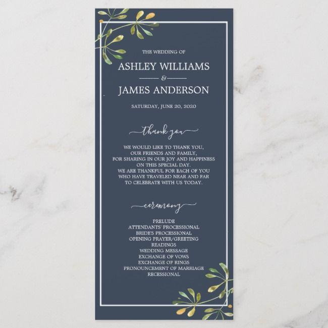 Create Your Own Flat Program Zazzle Com Botanical Wedding Wedding Menu Wedding Program Design