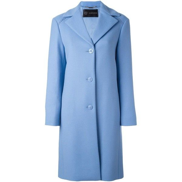 Versace single breasted coat (123.020 RUB) ❤ liked on Polyvore featuring outerwear, coats, blue, single-breasted trench coats, versace coat, long sleeve coat, blue coat and versace