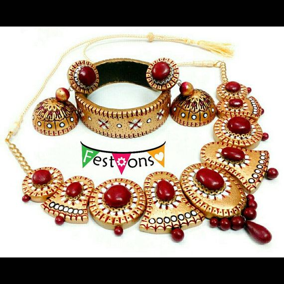 Red gems look-alike jewelry  Maroon and Gold by FestoonsTerracotta
