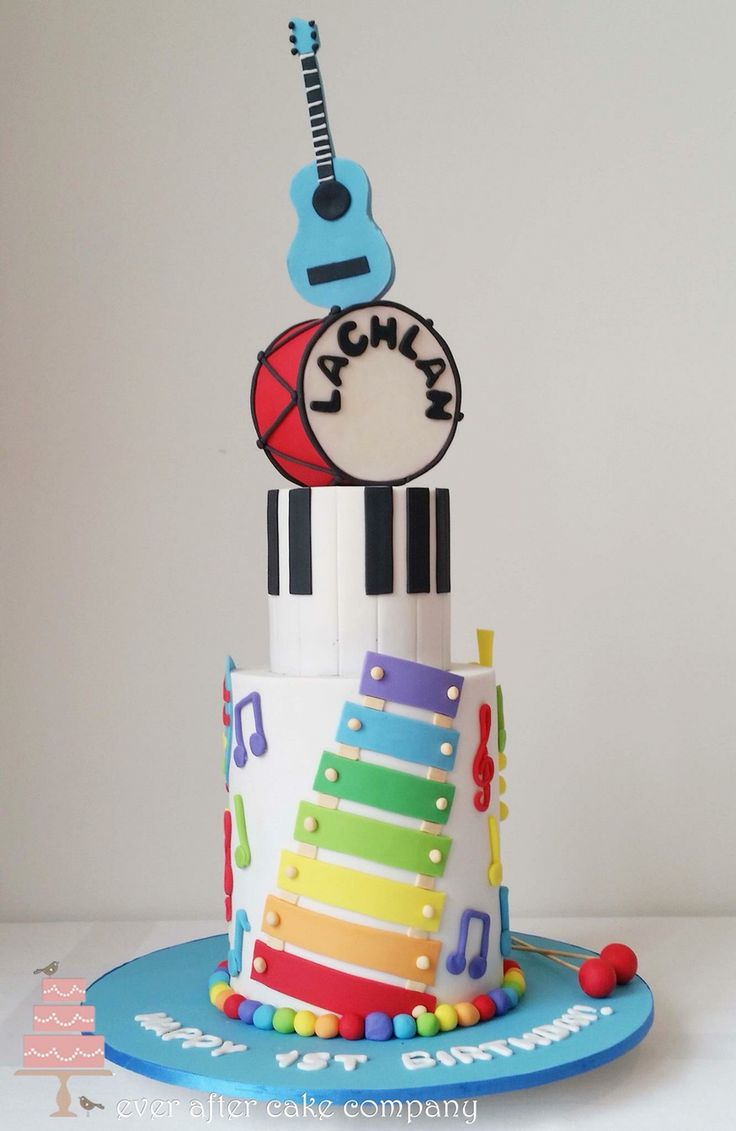 Kids musical instruments cake