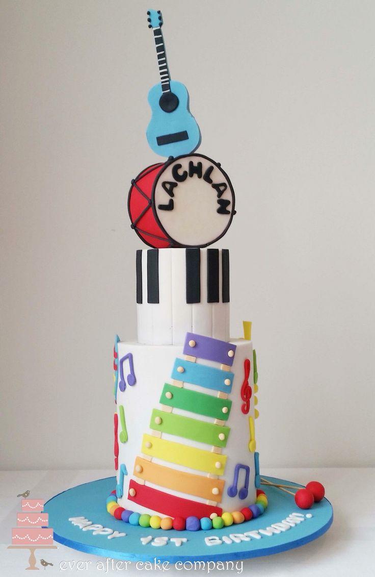 Kids musical instruments cake