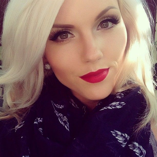 MAC Ruby Woo with Cherry liner. Her makeup is absolutely beautiful!!!