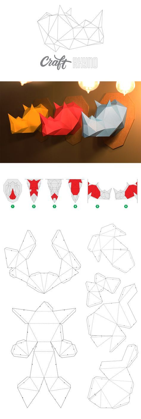 Papercraft Rhinoceros Head - printable DIY template