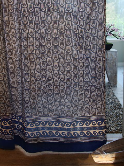 Pacific Blue ~ Rustic Navy Ocean Oriental Asian Cool Curtain - LOVE this website!! So many beautiful Moroccan/Indian inspired curtains