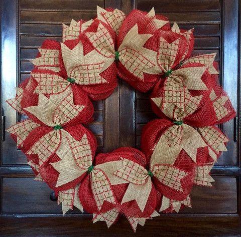 Christmas Plaid Burlap Wreath