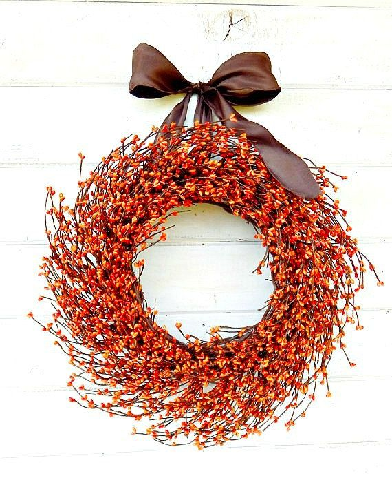 Herfst krans-Fall Decor-Thanksgiving krans-RUSTIEKE ORANGE Home Decor-oranje…