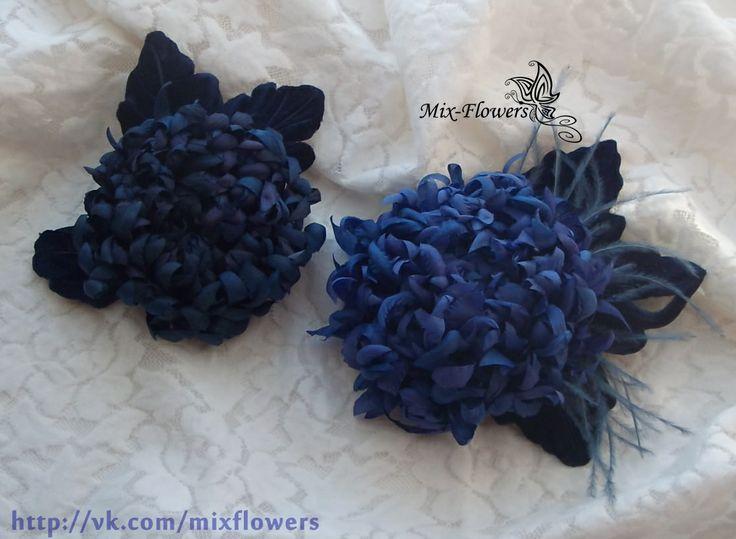 Silk chrysanthemum brooch,  In Stock • $25 mix-flowers.ru