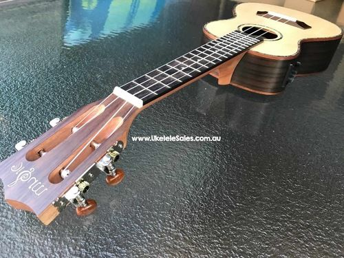 Concert Solid Spruce Top Mahogany Body Slotted Head ukulele, Abalone binding.