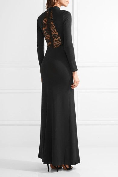 Alice Olivia - Rosamund Lace-paneled Stretch-jersey Gown - Black - US10