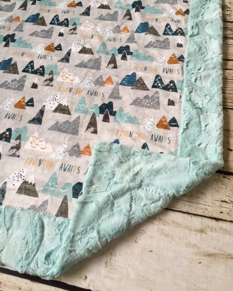 Adventure Awaits Woodland Mountain Double Sided by LavenderLinens