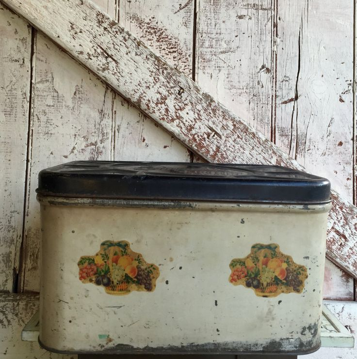 Vintage Metal Bread Bin box white with black lid and fruit decals primitive Empeco can Co by LititzCarriageHouse on Etsy