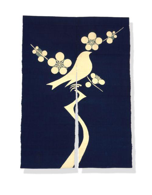 Door Hanging (Noren) With Bird On A Branch