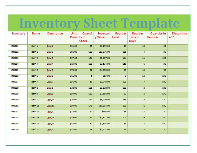 Inventory Sheet Templates